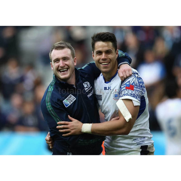 Stuart Hogg and Sean Maitland celebrate after the 2015 Rugby World Cup Pool B match between Samoa and Scotland at St James' Park | TotalPoster