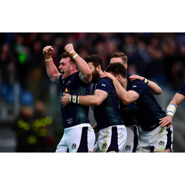 Stuart Hogg celebrates the try of Tommy Seymour oduring the RBS Six Nations match between Italy and Scotland at Stadio Olimpico in Rome | TottalPoster