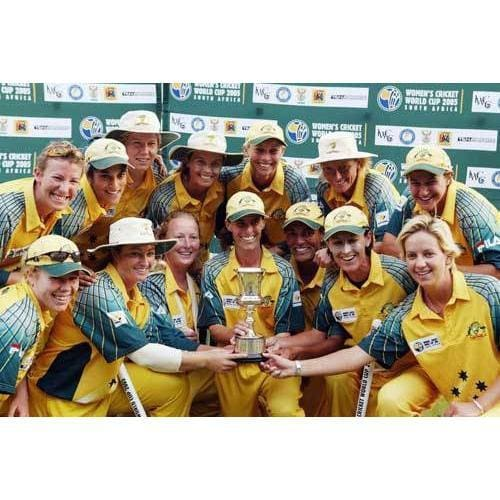 The Australia team pose with the trophy after winning the IWCC Women`s World Cup Final between India and Australia at Supersport Park Stadium in Pretoria, South Africa | TotalPoster