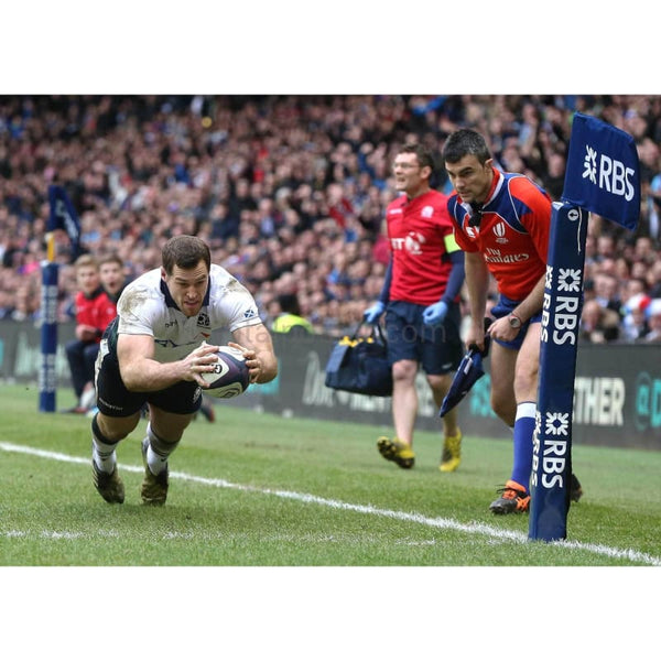 Tim visser dives over in the corner, for a second half try during the RBS Six Nations match between Scotland and France at Murrayfield Stadium | TotalPoster