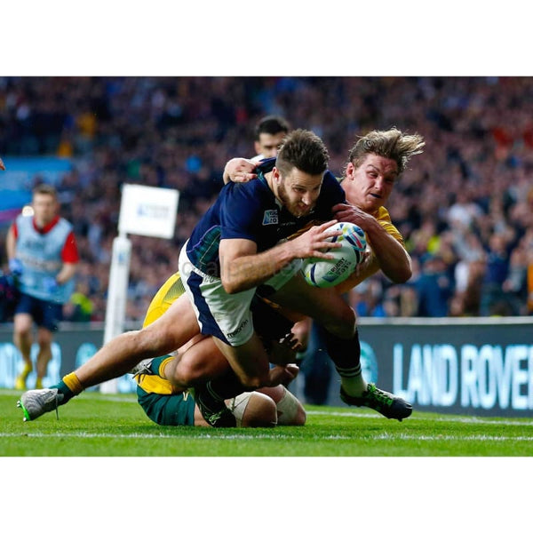 Tommy Seymour scores his teams second try tackled by Michael Hooper of Australia during the 2015 Rugby World Cup Quarter Final match between Australia and Scotland at Twickenham Stadium | TotalPoster