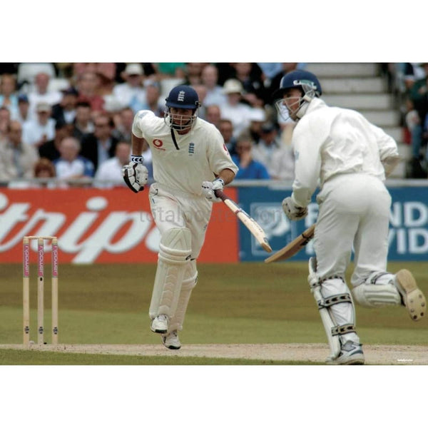 Michael Vaughan and Marcus Trescothick in action during the England v New Zealand npower Third Test match at Trent Bridge | TotalPoster
