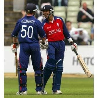 Vikram Solanki celebrates reaching his 50 with Paul Collingwood during England v Zimbabwe ICC Champions Trophy match at Edgbaston | TotalPoster