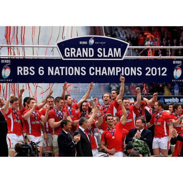 Wales players celebrate Six Nations Grand Slam