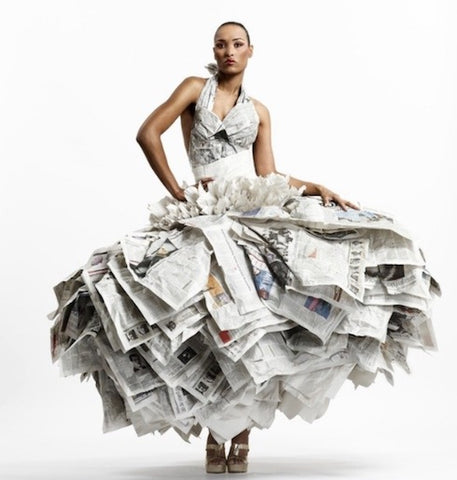 Gary Harvey upcycled newspaper dress