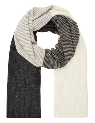 Pure British Alpaca softest cream charcoal scarf from Ally Bee