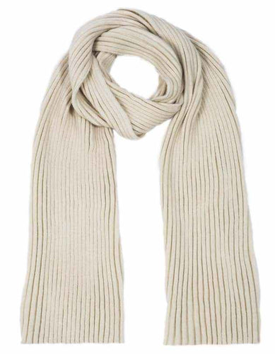 Alpaca Scarf - Cream, wide ribbed knit