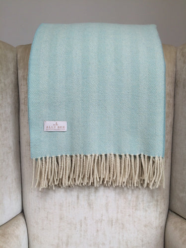 British Wool Blanket Throw - blue & cream, herringbone weave