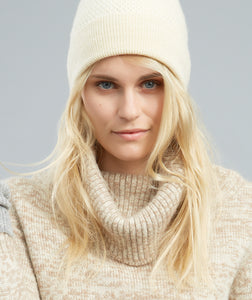 Beanie Hat - Wool, Cream 'Bramble Bee' moss stitch