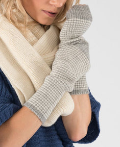 Alpaca Gloves - Fingerless armwarmers, cream stripe