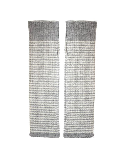 Alpaca Armwarmers - Fingerless gloves, grey stripe