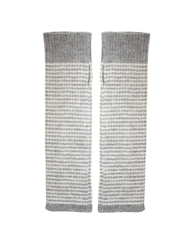 Alpaca Gloves - Fingerless armwarmers, grey stripe