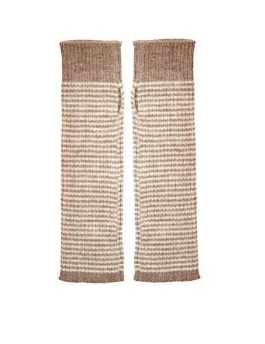 Alpaca Armwarmers - Fingerless gloves, brown stripe
