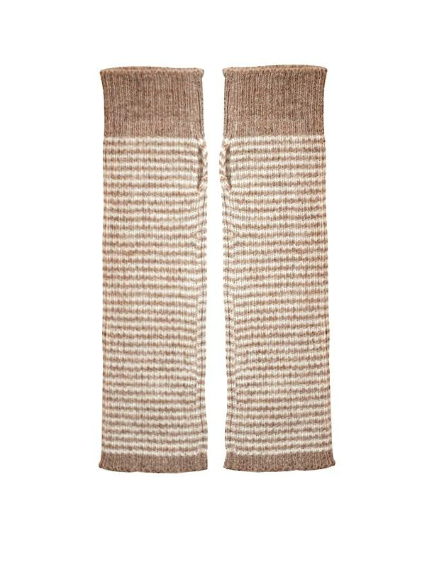 Alpaca Gloves - fingerless armwarmers, brown stripe