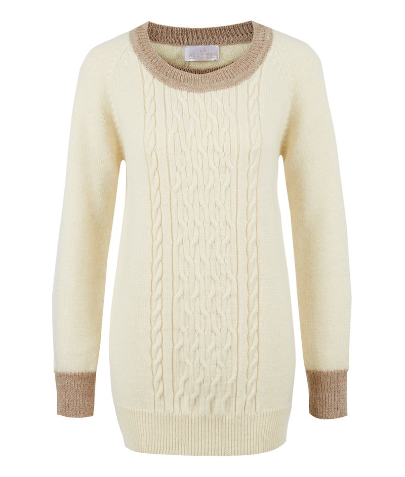Cream Wool & Alpaca Cable Jumper - alpaca collar & cuffs