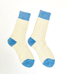 Alpaca Wool socks in Cream and cobalt blue