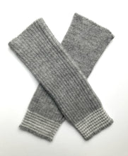 Alpaca Wool Fingerless Grey Stripe Gloves - alpaca & wool, invisible thumbhole