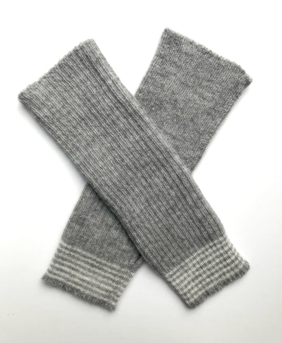 Alpaca Fingerless Grey Stripe Gloves - 100% British alpaca, rib knit