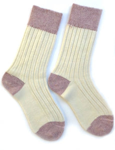Cream & pink alpaca and wool socks from Ally Bee