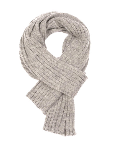 Alpaca Wool Scarf - Grey, Wide Rib Knit