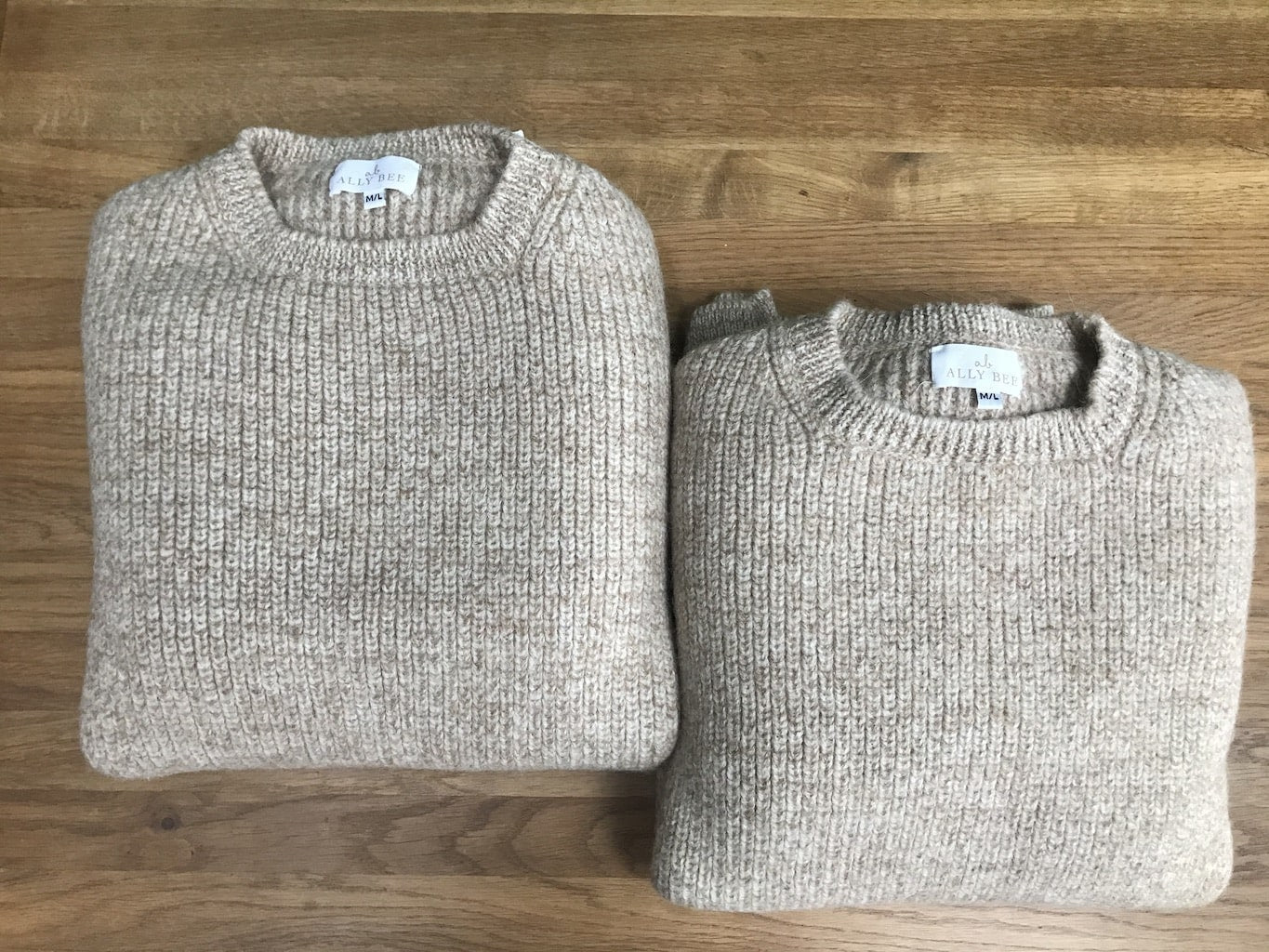 Caramel Marl Alpaca Wool Jumper - crew neck, brown cream marl