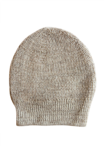 Beanie Hat - wool and alpaca, oatmeal marl