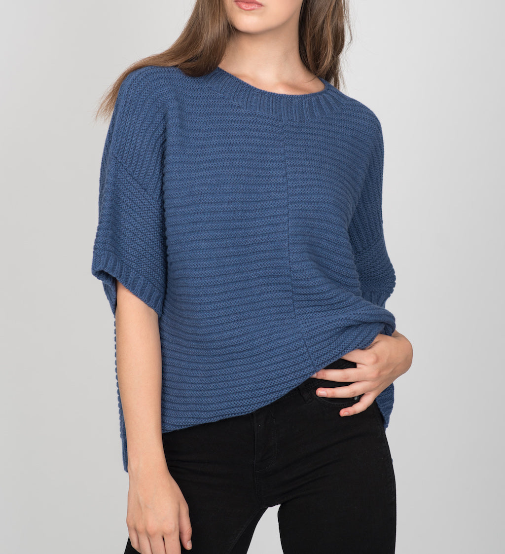 Poncho Jumper - Cashmere Merino CRADLE TO CRADLE® yarn, Blue