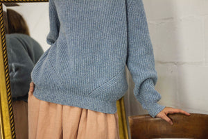 Fishermans Rib Recycled Cashmere Sweater - Blue Marl