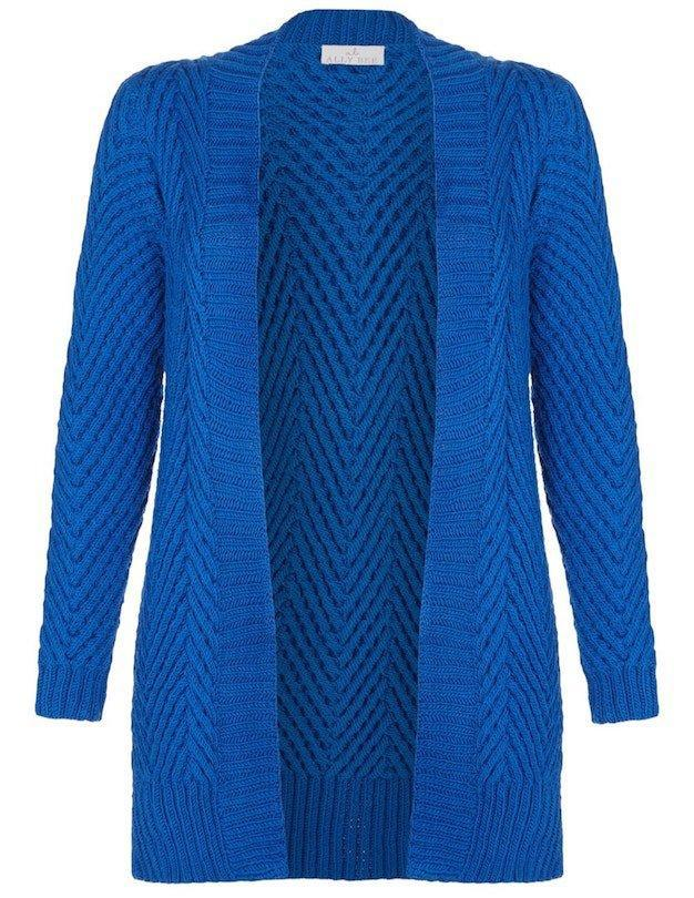 Open Front Hand-Knit Chevron Cardigan - superfine merino, Blue Ocean