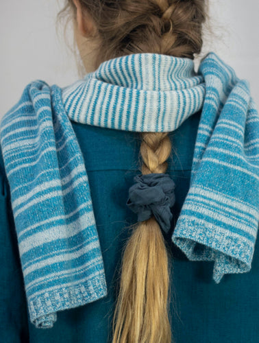 Beautiful one of a kind scarf design with random striping by Ally Bee Knitwear, made in England using a random stripe technique so that each scarf is slightly different. Made from overstock cashmere yarn for advancing a zero waste design philosophy.