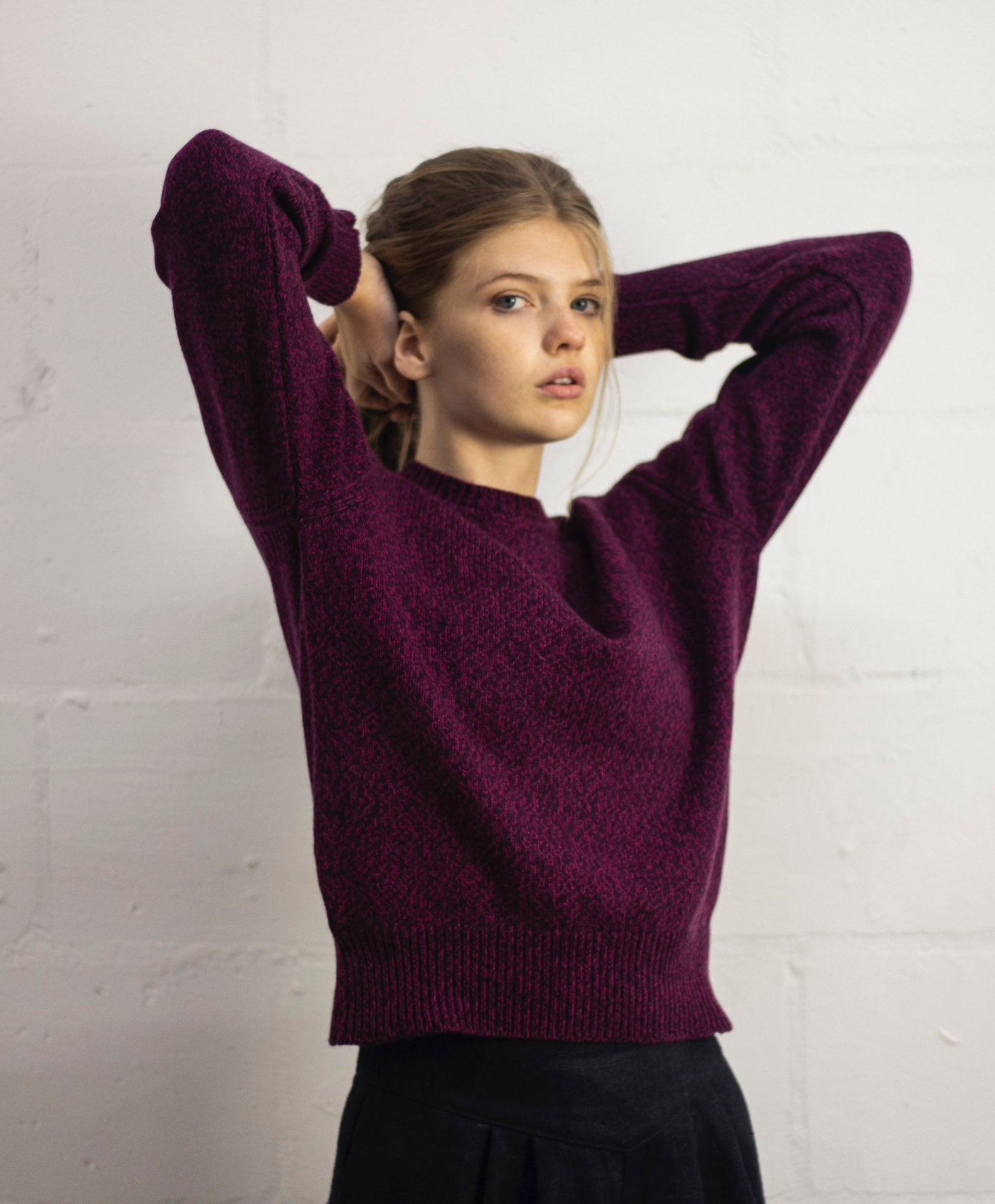 Flecked Purple Recycled Cashmere Sweater - crew neck, purple with pink