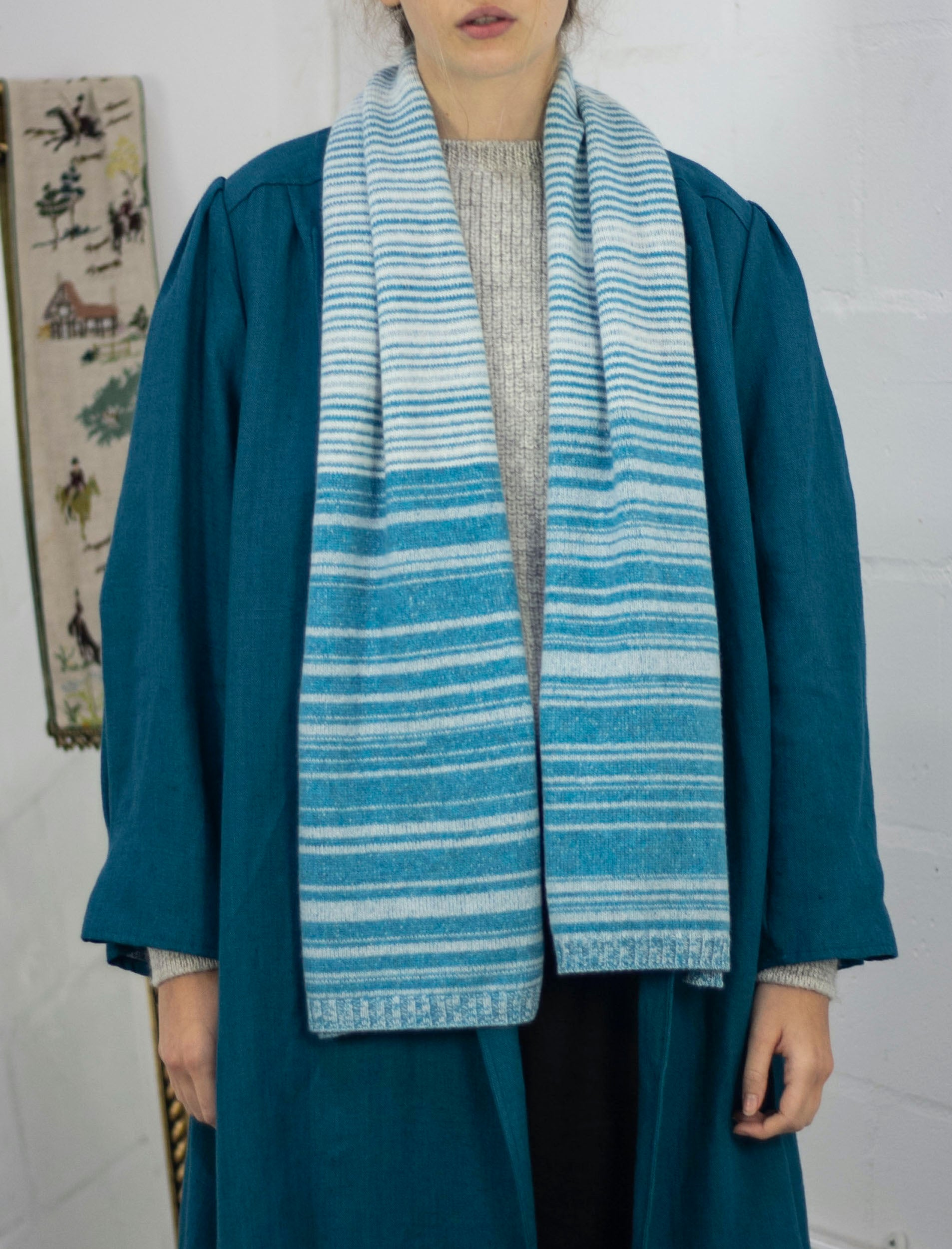 Cashmere Stripe Scarf - random striping, Blue & White Cream