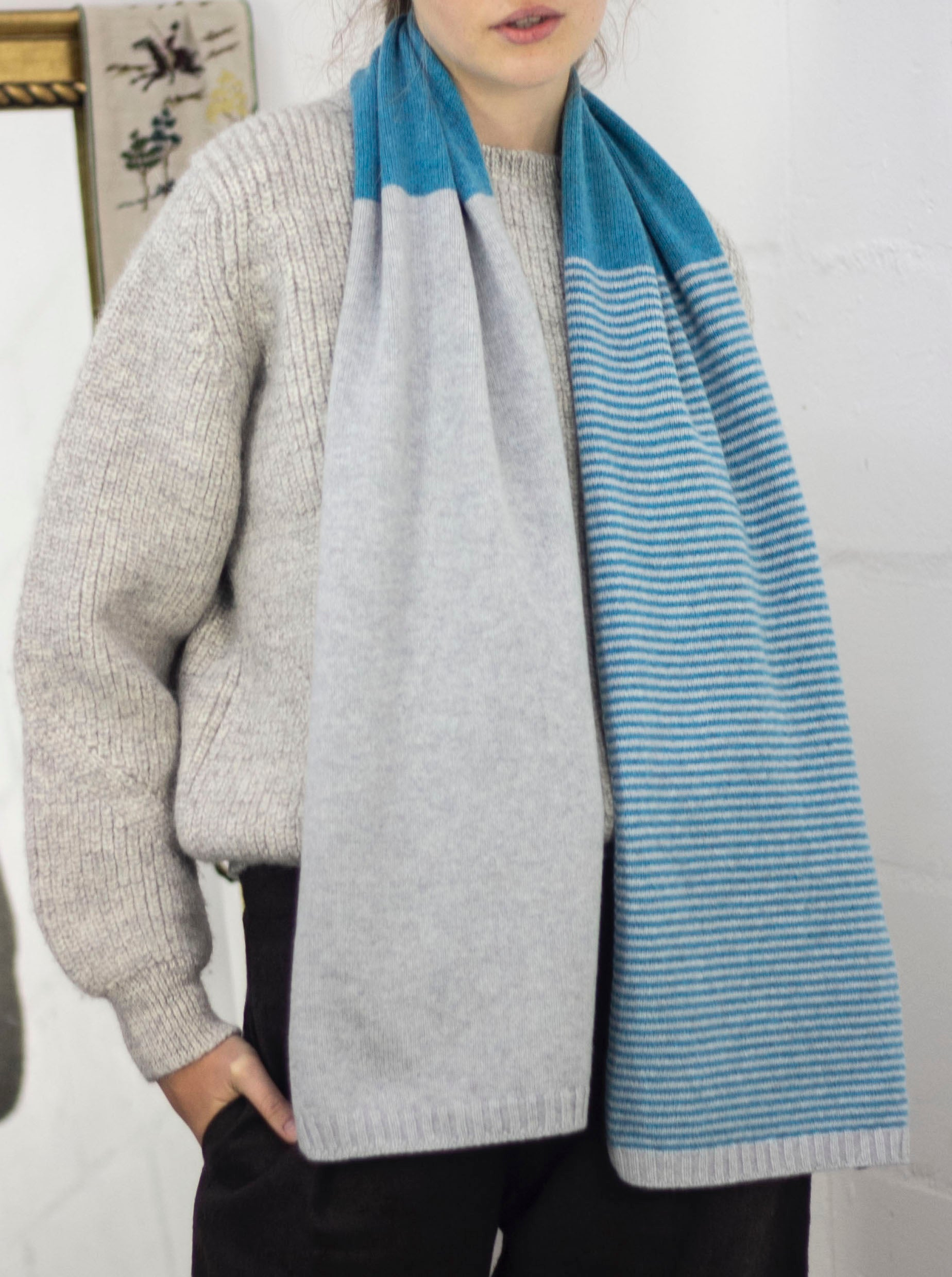 Cashmere Stripe Colourblock scarf - rescued cashmere, various colours
