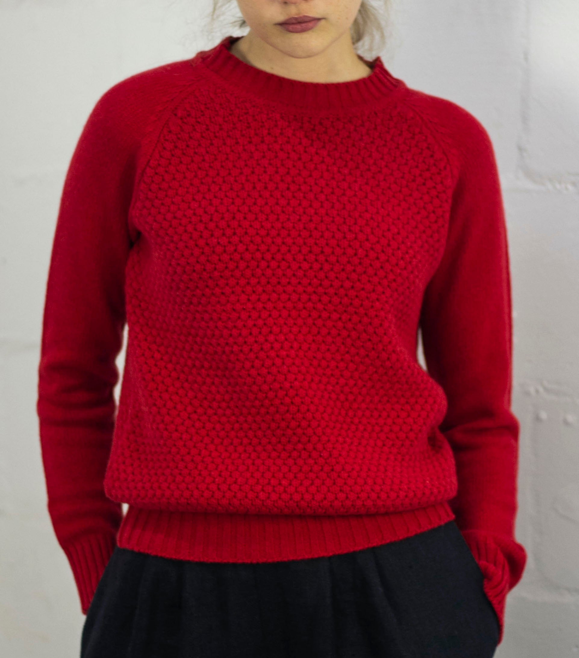 Ally Bee Red Cashmere Sweater in recycled cashmere yarn.