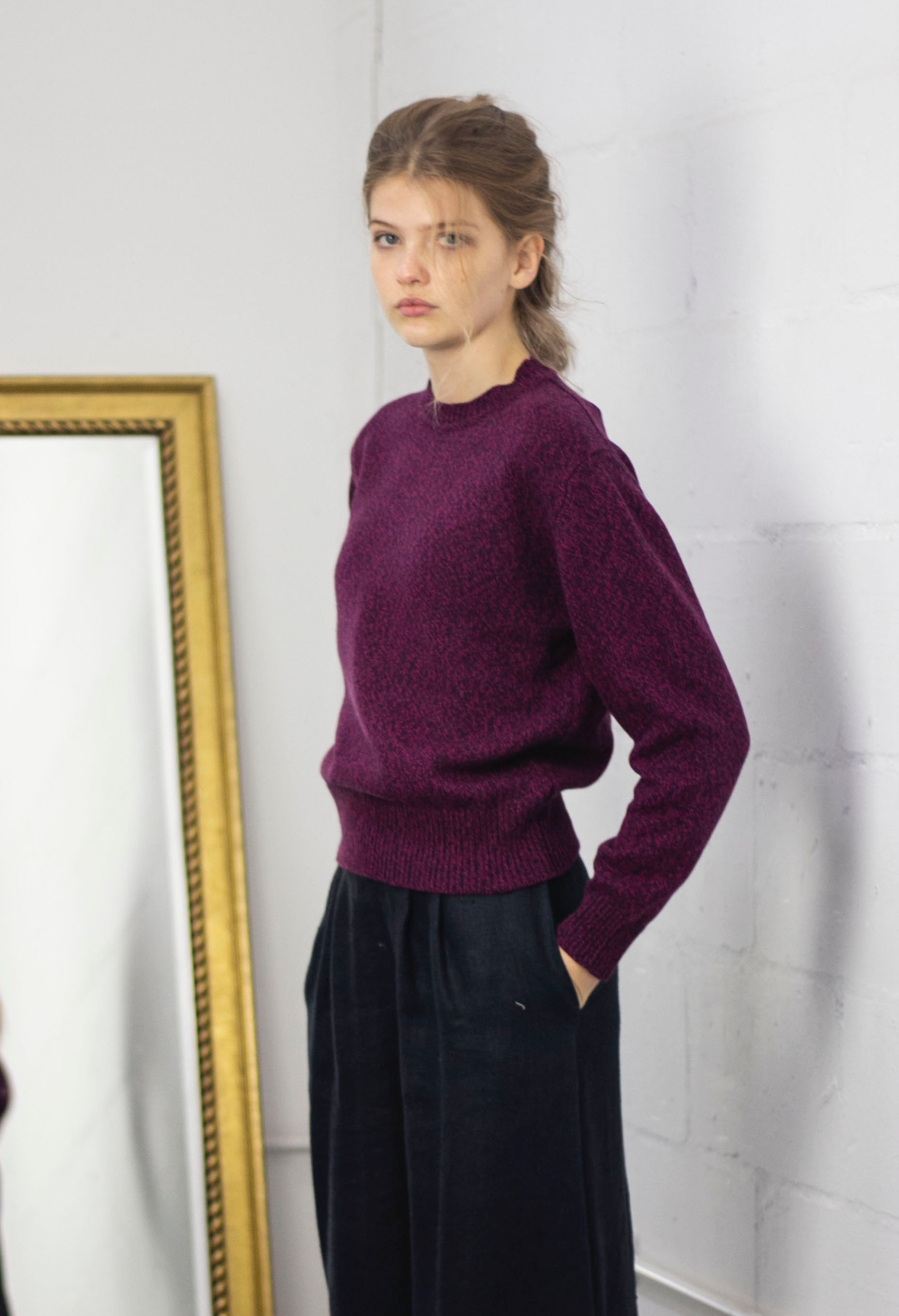 Purple Recycled cashmere yarn sweater by Ally Bee Knitwear and made in Scotland