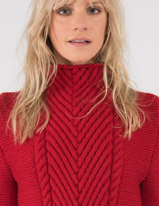 Ally Bee red flame hand-knit jumper