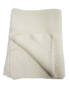 'Fireside' Wool Throw Blanket - Wool, Cream