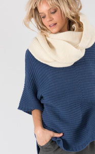 'Fireside' Snood with Blue Poncho Jumper from Ally Bee