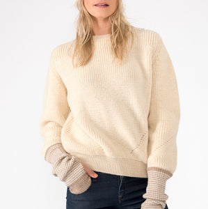 'Fireside' crew neck jumper in Cream wool by Ally Bee