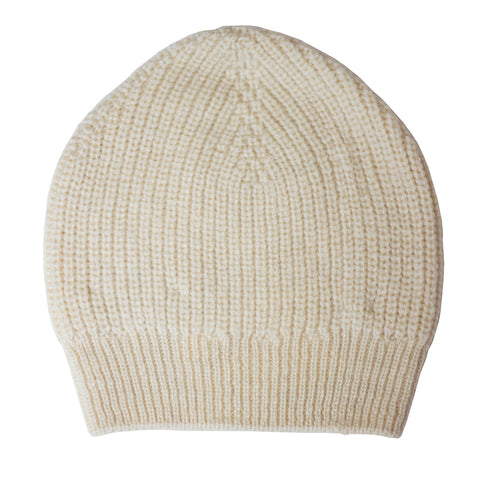 Fireside Beanie Hat in cream wool by Ally Bee