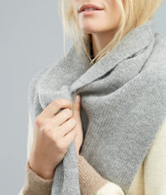Alpaca Scarf - Rib Knit, Grey with Brown