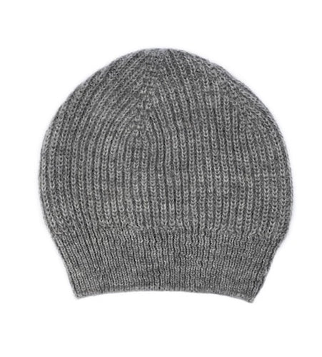 Ally Bee pure British alpaca beanie hat in undyed grey