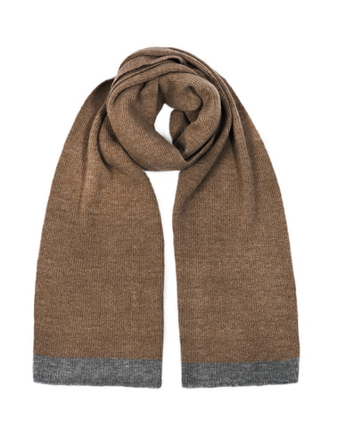 Alpaca Wool Throw Scarf - alpaca & wool, grey brown colours