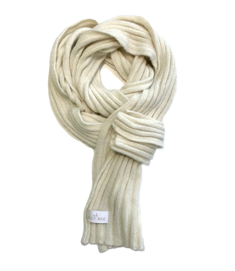 Luxury Cream Alpaca Scarf - wide rib knit, natural colour