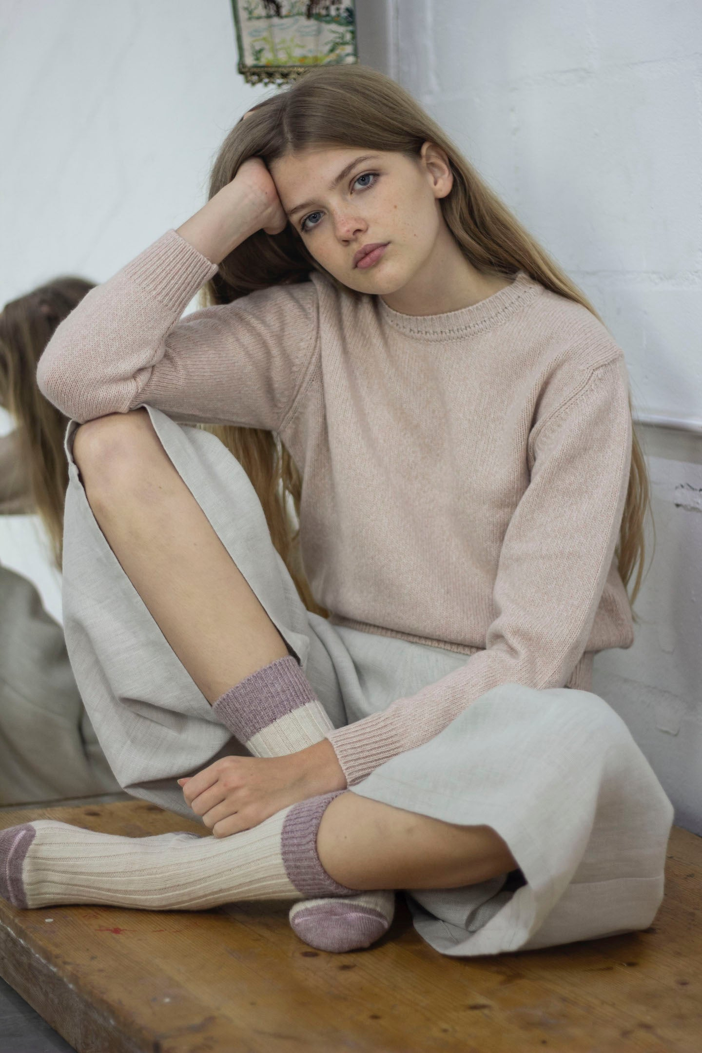Sandy Pink Recycled Cashmere Sweater - crew neck, pink with camel