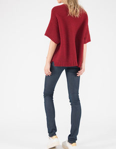 Ally Bee Poncho Jumper knitted in Red C2C eco cashmere merino