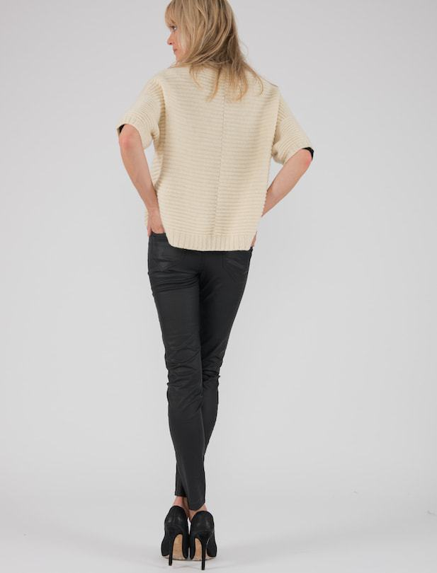 Cream poncho jumper in ethical wool Ally Bee Knitwear back