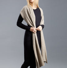 Ally Bee Pure British alpaca scarf throw in Pebble draped long