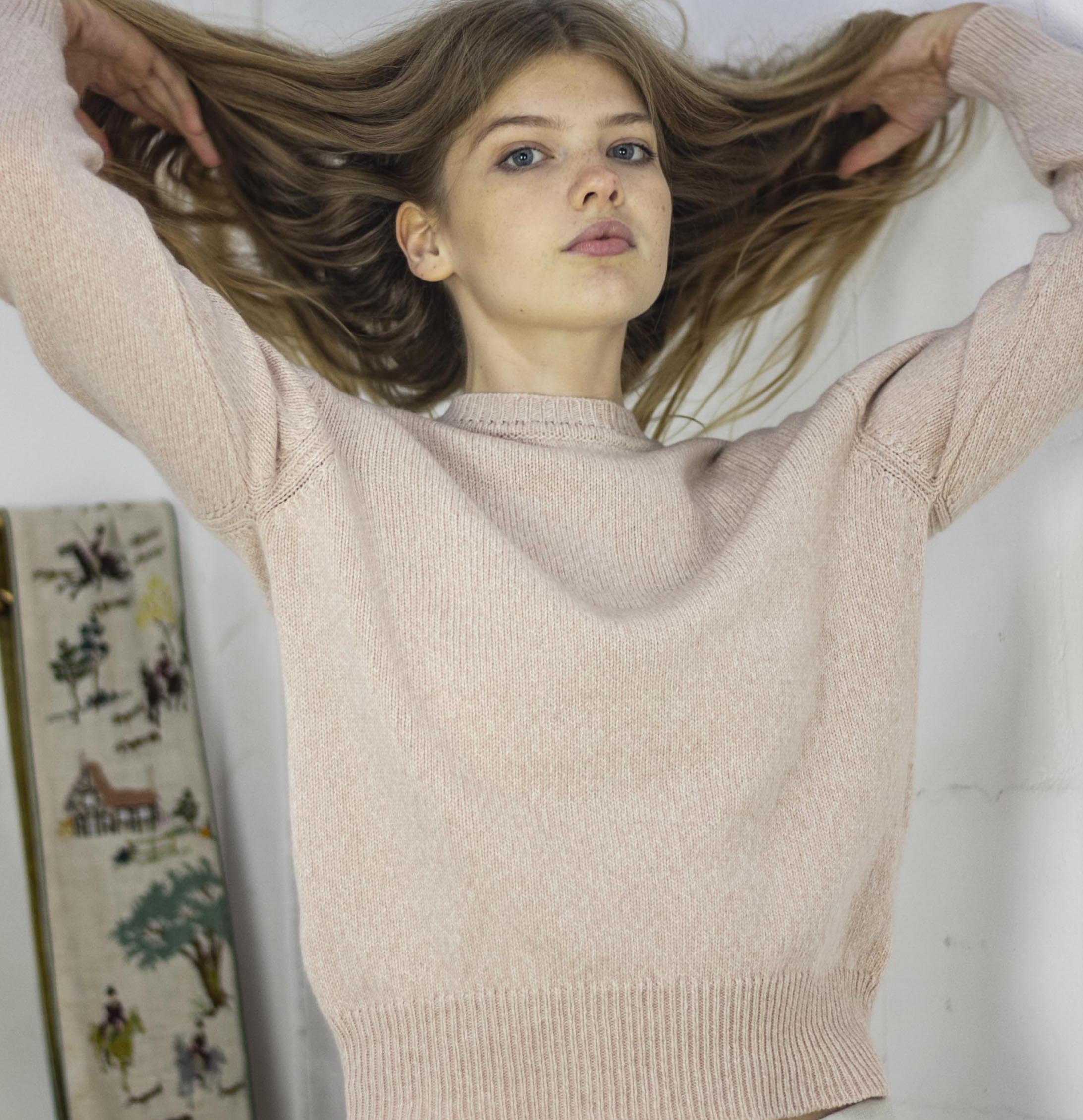 Ally Bee Pink Cashmere Sweater made from Italian recycled cashmere yarn