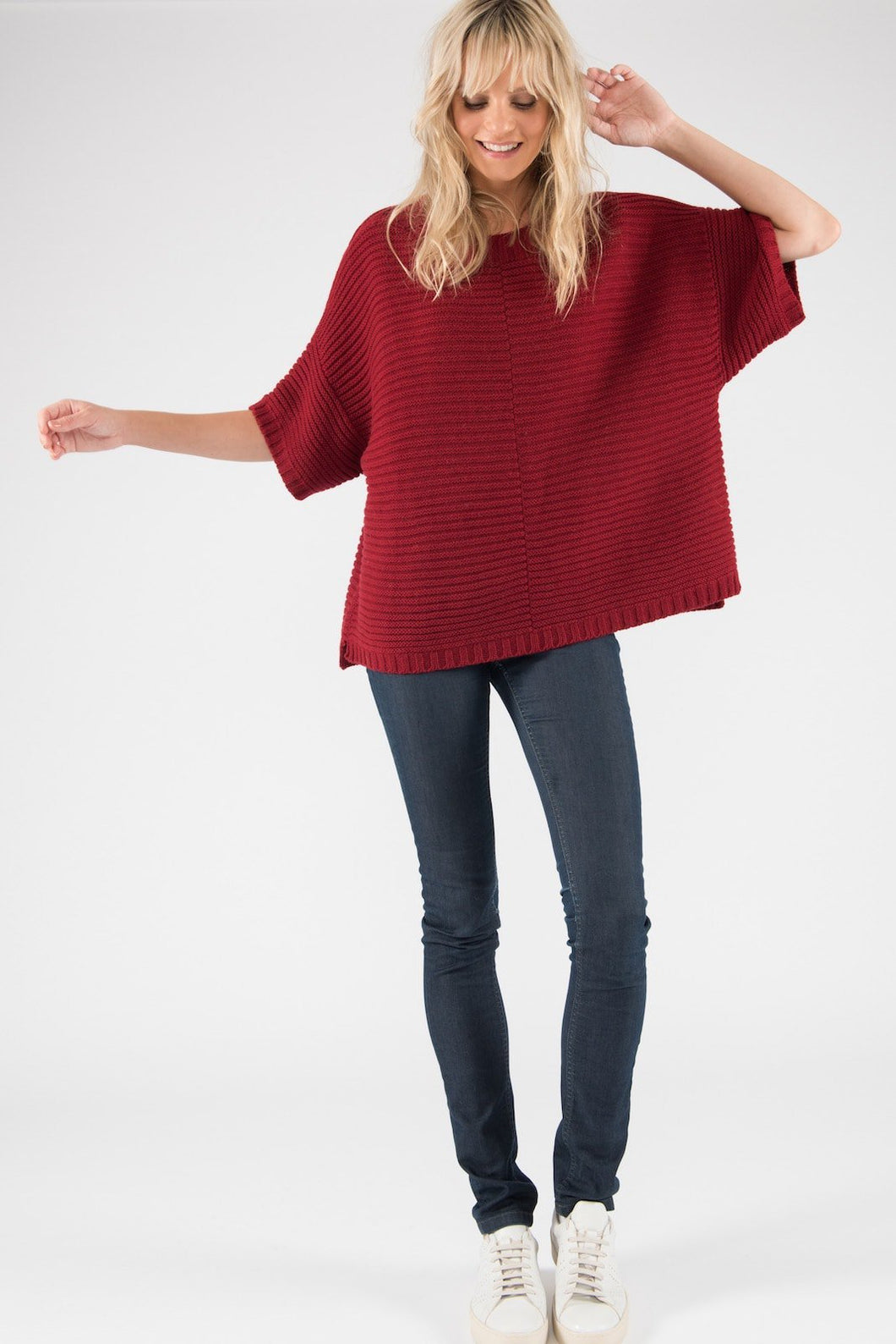 Poncho Jumper in red eco cashmere merino yarns from Ally Bee